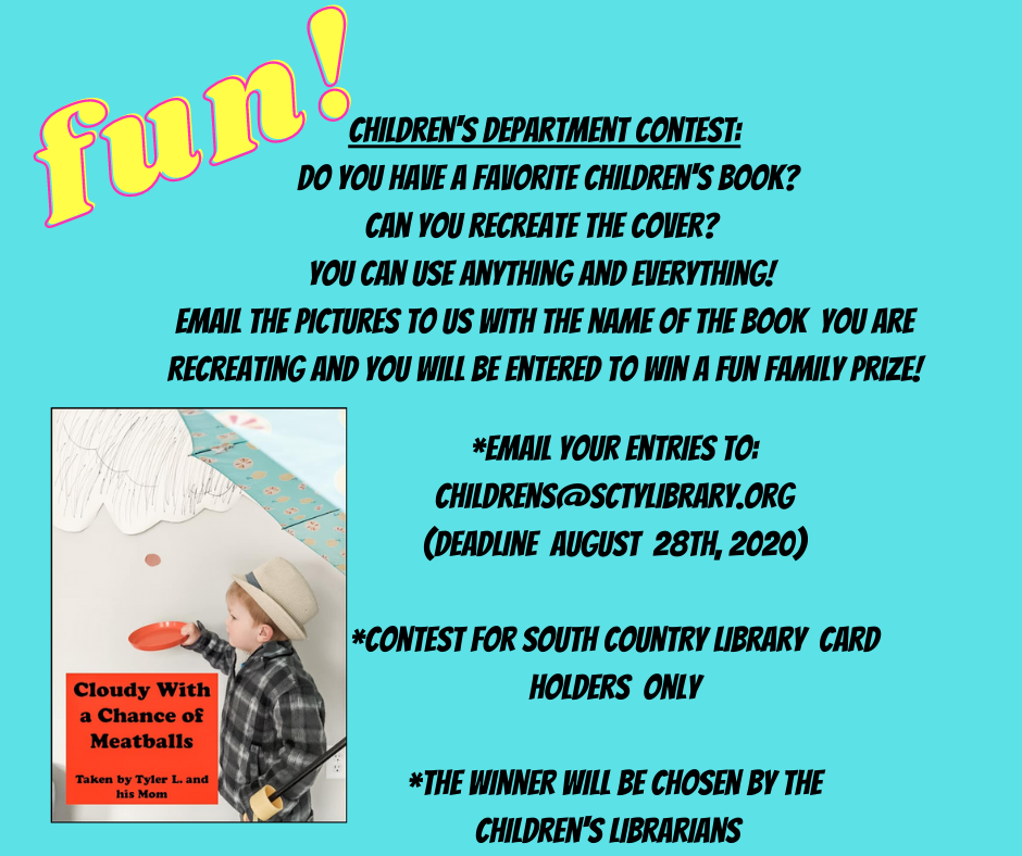 Children's Department Contest_ What is your favorite children's book_ Can you recreate the cover_ You can use anything and everything! email the pictures to us with the name of the book you are recreatin